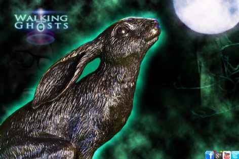 Bronze Moon Gazing Hare Celtic Pagan Wiccan Altar Sculpture